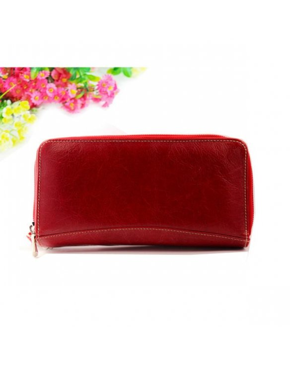Red leather wallet with embossed pattern and hand painted