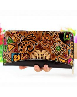 Zippered wallet for women hand painted