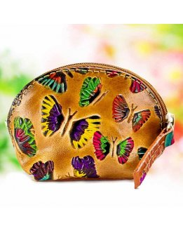 Leather coin pouch for women