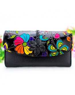 Black leather wallet women