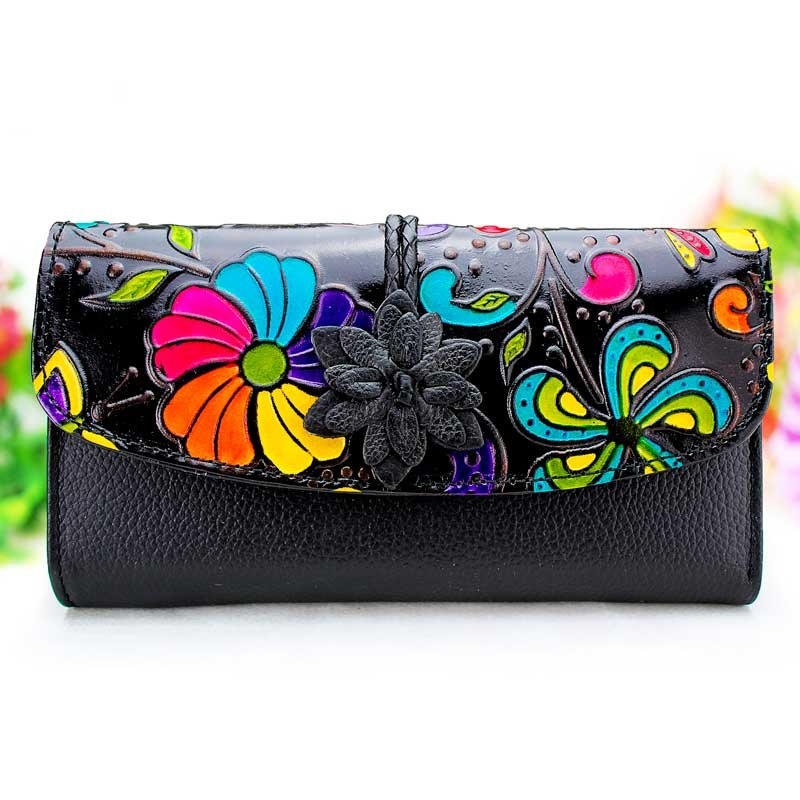 Black leather wallets women