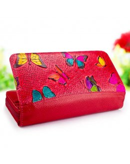 Red wallet for women genuine leather