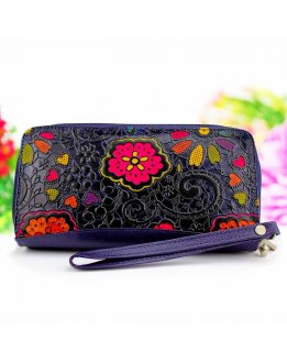 Leather wallets for women embossed and hand painted