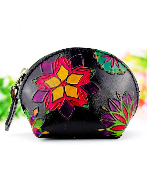 Leather coin purse for women