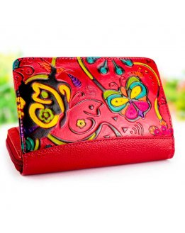 Wallet for woman with beautiful embossed and handpainted pattern