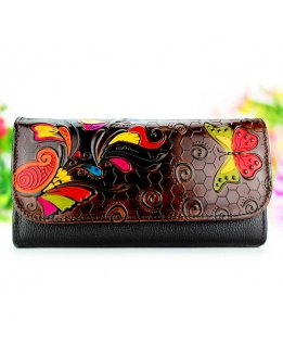 Womens wallet black leather color