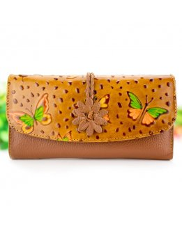 Leather clutch woman card holder